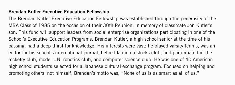 Brendan Kutler Executive Education Fellowship